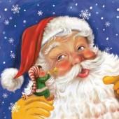 """Салфетка """"Санта и гномик"""" для декупажа бумажная SDGW005001, 33х33 см"""