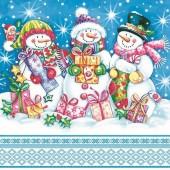 """Салфетка """"Снеговики с подарками"""" для декупажа бумажная SDGW009601, 33х33 см"""