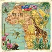 """Салфетка для декупажа """"Африканское путешествие"""" бумажная, 1331366, 33х33 см"""