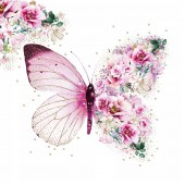 "Салфетка для декупажа ""Бабочка из цветов"" бумажная, 1333649, 33х33 см"