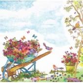 "Салфетка для декупажа ""Тачка с цветами"" бумажная, 33х33 см, на фото 1/4 салфетки, 363413"