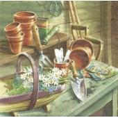 """Салфетка для декупажа """"Маргаритки в садовом сарае"""" бумажная, 363430, 33х33 см"""