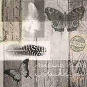 "Салфетка для декупажа ""Бабочки и стихи"" бумажная, 33х33 см, LN0805, на фото 1/4 салфетки"