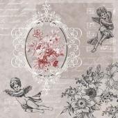 """Салфетка для декупажа """"Ангелы и цветы"""" бумажная SDL089400, 33х33 см"""
