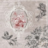 "Салфетка для декупажа ""Ангелы и цветы"" бумажная, 33х33 см, SDL089400, на фото 1/4 салфетки"