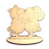 "Заготовка для декора - деревянная фигурка ""Овечка с Барашком"" на подставке, 15х7х13 см, арт. 141601"