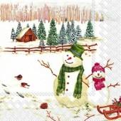 """Салфетка """"Зимняя деревушка и снеговики"""" для декупажа бумажная L556200, 33х33 см"""
