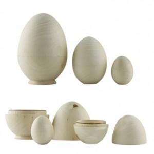 Заготовка для Пасхи - яйцо-матрёшка деревянное, 3 шт., 7х115 мм, 55х80 мм, 40х60 мм, арт. 52672