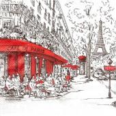 """Салфетка для декупажа """"Париж чёрный с красным"""" бумажная, арт. 13308350, 33х33 см, на фото 1/4 салфетки"""