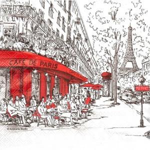 "Салфетка для декупажа ""Париж чёрный с красным"" бумажная, 13308350, 33х33 см"