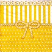 "Салфетка для декупажа ""Бантик жёлтый"" бумажная, 25х25 см, на фото 1/4 салфетки, арт. 12507951"