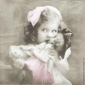 "Салфетка для декупажа ""Винтаж, Девочка с куклой"" бумажная, арт. 80009, 33х33 см"