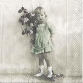 "Салфетка для декупажа ""Винтаж, Девочка с цветами"" бумажная, 2066, 33х33 см, на фото 1/4 салфетки"