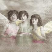 "Салфетка для декупажа ""Винтаж, Три Ангела"" бумажная, арт. 80006, 33х33 см, на фото 1/4 салфетки"