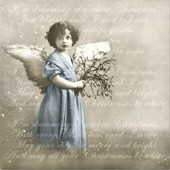 "Салфетка для декупажа ""Винтаж, Голубой ангел и письмо"" бумажная 80040, 33х33 см, на фото 1/4 салфетки"