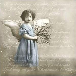 """Салфетка для декупажа """"Винтаж, Бирюзовый ангел и письмо"""" бумажная 80040, 33х33 см"""