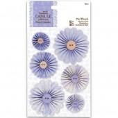 """Декоративные элементы """"Гофрированные цветы лавандовые"""" French Lavender PMA359109, DOCRAFTS, 6 шт."""