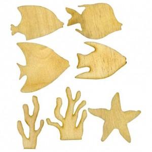 "Фигурки плоские ""Море"", 7 шт., 50 мм, фанера 4 мм, арт. НМ-11"