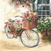 """Салфетка для декупажа """"Велосипед с цветами"""" бумажная, 211503, 33х33 см"""