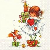 """Салфетка для декупажа """"Маленькая Рождественская принцесса"""" бумажная, 33х33 см, на фото 1/4 салфетки, 611226"""