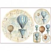 """Бумага рисовая для декупажа Stamperia DFS319 """"Циферблат, воздушные шары"""", 48х33 см"""
