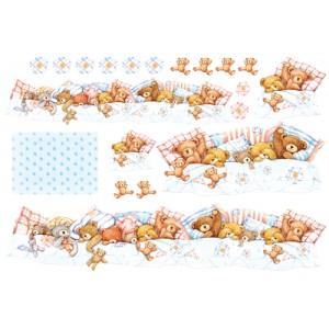"""Бумага рисовая для декупажа Stamperia DFS062 """"Спящие медвежата"""", 48х33 см"""