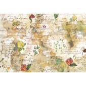 """Бумага рисовая для декупажа Stamperia DFS018 """"Цветы и стихи"""", 48х33 см"""