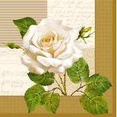 "Салфетка для декупажа ""Белая роза"" бумажная, 33х33 см, на фото 1/4 салфетки, SLOG002901"