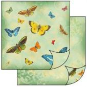 Бумага для скрапбукинга двухсторонняя Stamperia, 31,2х30,3 см, SBB146, Бабочки