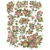 Декупажная карта Decomania 068 bis, 30х42 см, 70 г/м2, Камелия розовая