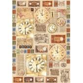 """Декупажная карта Stamperia DFG315 """"Часы с римскими цифрами"""", 50х70 см"""