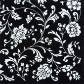 """Салфетка для декупажа """"Арабеска белая на чёрном"""" бумажная, 340711, 33х33 см"""
