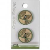 Пуговицы декоративные, серия Organic Elements, деревянные, арт. 2712, 2 шт., d=2,5 см