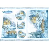 """Бумага рисовая для декупажа Stamperia DFS125 """"Зима в горах"""", 48х33 см"""