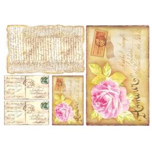 """Бумага рисовая для декупажа Stamperia DFS052 """"Любовь в письмах"""", 48х33 см"""