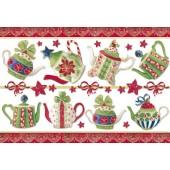 """Бумага рисовая для декупажа Stamperia DFS170G """"Рождественское чаепитие"""" с золочением, 48х33 см"""
