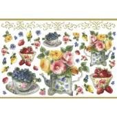 """Бумага рисовая для декупажа Stamperia DFS185G """"Цветы и ягоды в чашках"""" с золочением, 48х33 см"""