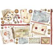 """Бумага рисовая для декупажа Stamperia DFS184 """"Игральные карты и письма"""", 48х33 см"""