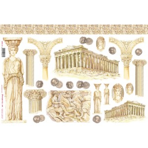 "Бумага рисовая для декупажа Stamperia DFS118 ""Древняя Греция"", 48х33 см"