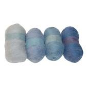 Шерсть для валяния кардочёсанная FLP004, оттенки голубого, набор 4х20 гр., Stamperia