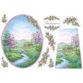 "Бумага рисовая для декупажа Stamperia DFS066 ""Пейзаж - Весна"", 48х33 см"