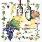 """Салфетка для декупажа """"Вино и сыр"""" бумажная, 13306815, 33х33 см"""