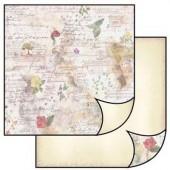 Бумага для скрапбукинга двухсторонняя Stamperia, 31,2х30,3 см, SBB064, Цветы и стихи