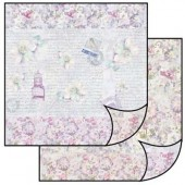 Бумага для скрапбукинга двухсторонняя Stamperia, 31,2х30,3 см, SBB099, Цветы и письма