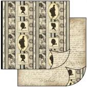 Бумага для скрапбукинга двухсторонняя Stamperia, 31,2х30,3 см, SBB124, Силуэты
