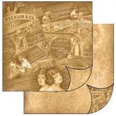 """Бумага для скрапбукинга двухсторонняя Stamperia SBB135 """"Ретро"""", 31,2х30,3 см"""