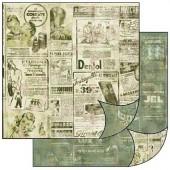 Бумага для скрапбукинга двухсторонняя Stamperia, 31,2х30,3 см, SBB136, Винтаж