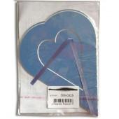 Декоративное паспарту, сердце большое бирюзовое, 19,5х14,5 см, арт. 508-0025