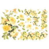 """Бумага рисовая для декупажа Stamperia DFS046 """"Жёлтые розы"""", 48х33 см"""