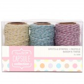 "Шнуры декоративные ""Spots & Stripes Pastels"" PMA171201, Docrafts, 3 шт. по 20 м"